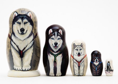 Alaskan Dog Sled Russian Nesting Doll 5pc./6''