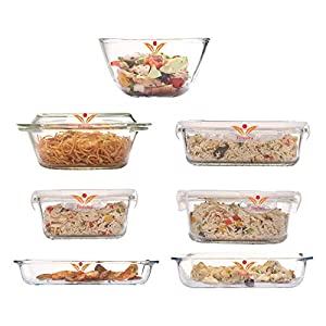 Femora Microwave Borosilicate Glass Kitchen Set (White)