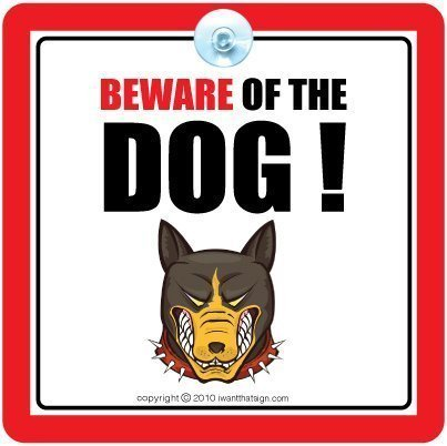 iwantthatsign. com Beware Of The Dog Sign, con inscripción en inglés 'beware of the Dog, Guard Dog, Perro Señal, señal de...