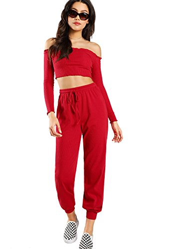Verdusa Women's 2 Piece Outfits Tube Crop Top & Drawstring Terry Pants Set Red S for $<!--$25.99-->