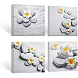 SUMGAR Framed Wall Art for Bathroom Canvas Paintings for Bedroom Yellow Flowers Frangipani Zen Stones,12''x12''x4