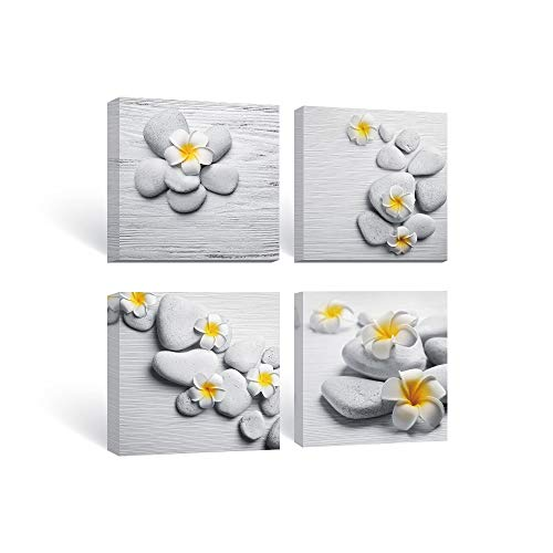 SUMGAR Framed Wall Art Bathroom Gray Yellow Flower Pictures Floral Canvas Paintings Zen Decor 4 Panel,12x12 in