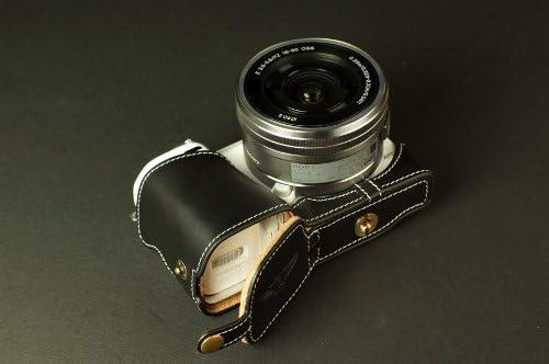 Handmade Genuine real Leather Full Camera Case bag cover for Sony NEX-5T NEX5T NEX-5R NEX5R Black Bottom opening Version