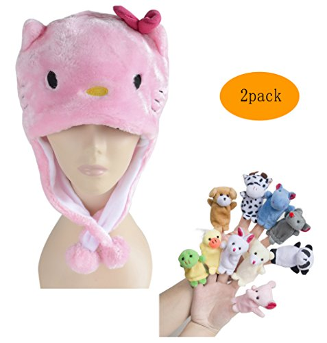 Pulama Winter Animal Beanie Hats, Short Cartoon Caps with 10 Finger Puppets (Pink