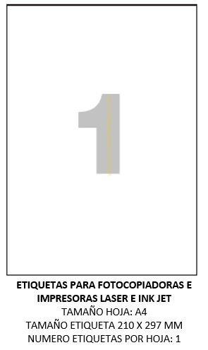 50 hojas etiquetas adhesivas DIN A4 para impresora. Tamaño ...