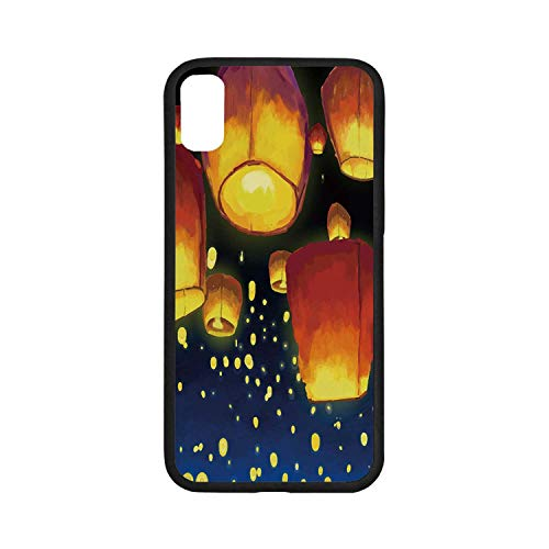 Floating Lantern Rubber - Lantern Rubber Phone Case,Floating Fanoos Like Devices on Sky Festive Auspicious Asian Culture Chinese Decorative Compatible with iPhone X, iPhone X