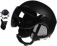 Ski Helmet with Goggles Integrated Skiing Helmet Women Men Ski Snowboard Snow Helmet