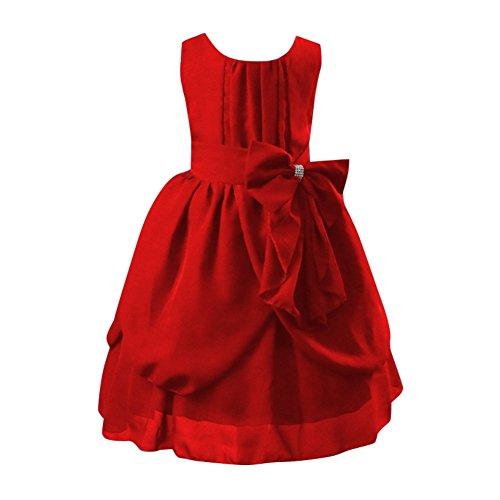 12 Red Dress Flower Years Chiffon Girls' Sleeveless Weixinbuy 2 Retro qCHEEgx