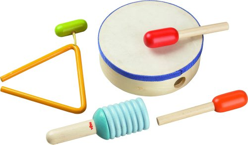 HABA Percussion Set with Drum, 2 Beaters, 1 Rattling Stick and Metal Triangle (Made in Germany)