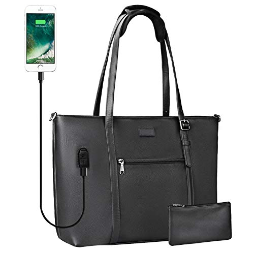 Woman Laptop Tote Bag,USB Teacher Bag Large Work Bag Purse Fits 15.6 in Laptop (Leather Black)