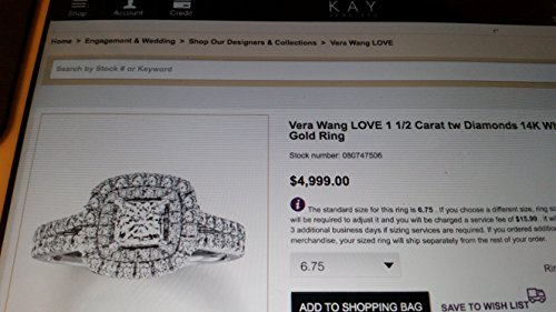 Vera Wang LOVE Collection 1-1/2 CT. T.W. Princess-Cut Diamond Frame Split Shank Engagement Wedding Ring in 14K White Gold in Size 4-13 -