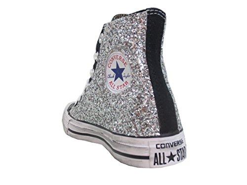 Nere Converse Artigianale Personalizzate All Argento Glitter Star prodotto TEvqw8Hv