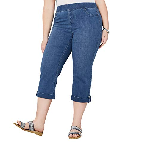 Avenue Women's Ultimate Fit Pull-On Button Cuff Capri in Medium Wash, 26 Medium Wash