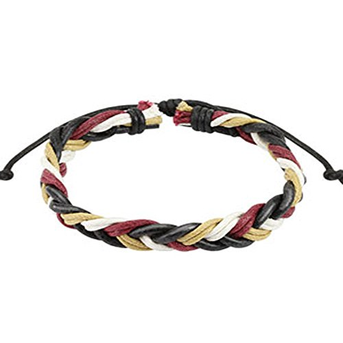 Wine Red Multi Colored Braided Leather Bracelet with Drawstrings, Adjustable Size by Sliding Tie-Knot Closure and One Size Fits Most (Extends upto 10