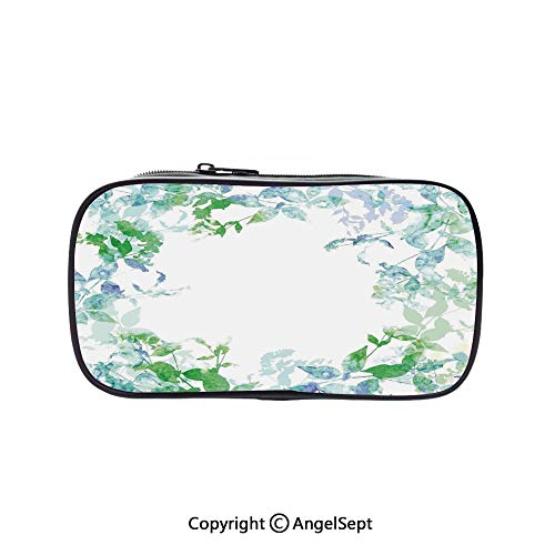Two Big Pockets for Executive Fountain Pen,Floral Spring Wreath in Watercolor Paintbrush Stylized Hazy Effects Artful Image Seafoam Violet 5.1inches,Multi-Functional 72 Slots Colored Pencil Case]()