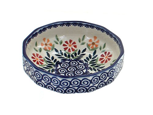 Angular Bowl - Blue Rose Polish Pottery Garden Bouquet Small Angular Bowl