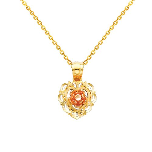 3 Color Gold Polished Flower Charm Pendant with 1.2mm Side Diamond Cut Cable Chain Necklace - 22
