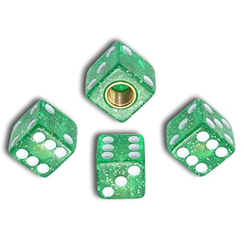 """(4 Count) """"Cube Playing Dice with Easy Grip Design"""" Valve Stem Dust Cap Seal Made of Hardened Rubber {Sparkly Ford Green Color - Hard Metal Internal Threads for Easy Application - Rust Proof} ()"""