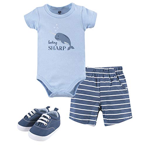 - Hudson Baby Baby Bodysuit, Pants/Shorts and Shoes, narwhal 3-Piece Set 9-12 Months (12M)