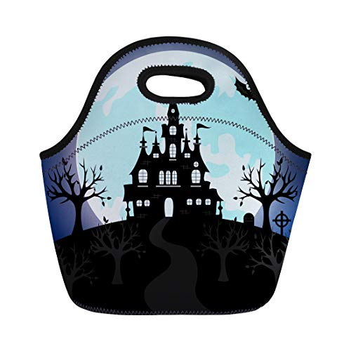 (Semtomn Lunch Tote Bag Old Gothic Cemetery Iron Gate and Lantern Halloween Night Reusable Neoprene Insulated Thermal Outdoor Picnic Lunchbox for Men)