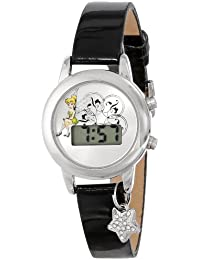 Women's TK1029 Tinkerbell Silver Dial Black Strap with Charm Watch