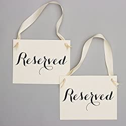 Set of 2 Reserved Signs Wedding Chair Seat Banners Black & Ivory
