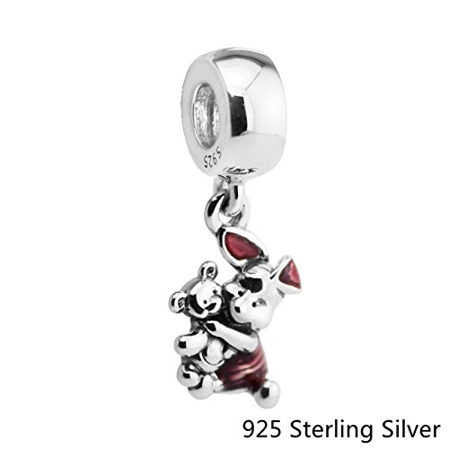 Beads Fits Pandora Bracelets 100% 925 Sterling Silver Jewelry Piglet, Transparent Cerise Enamel Original Charms