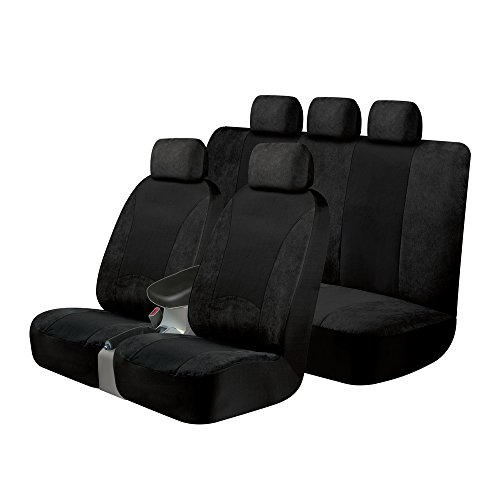 (Kraco 805367 Universal Fit 3-Piece SGX Scotchgard Seat Cover Kit - Contains 2 Low Back Seat Covers and 1 Standard Bench Seat Cover, Black)