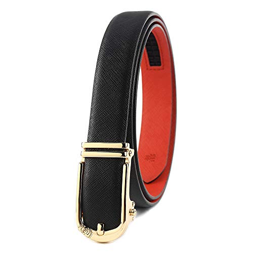 (Women Cowhide Leather Belt for Pants Dress Jeans Gold Automatic Buckle Waist Belts Holeless Ratchet Click Adjustable (Adjustable from 33