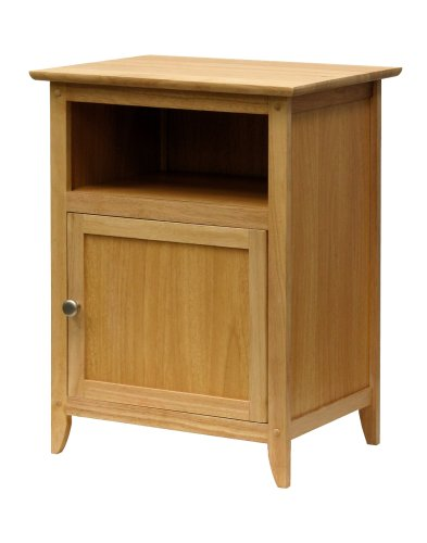 Winsome Wood End Table/Night Stand with Door and Shelf, Natural