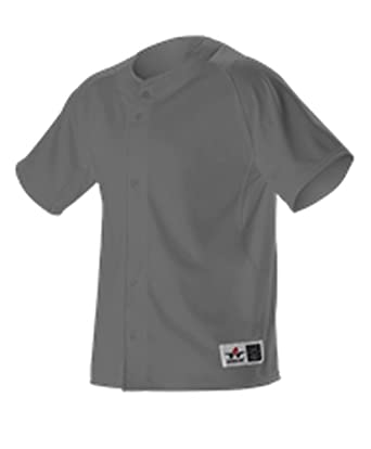 d46a7d0a4 Alleson YOUTH WARP KNIT FULL BUTTON FRONT BASEBALL JERSEY CHARCOAL S PWRPJY  PWRPJY-CH-