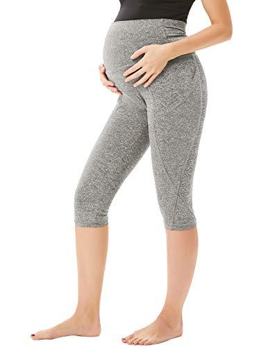 Women Maternity High Waist Tummy Control Stretchy Yoga Pants Capri Pants, 1072-light Gray, Small