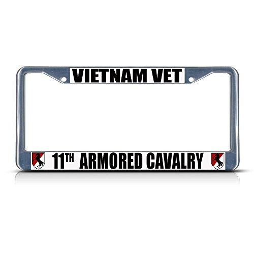 Vietnam Vet 11TH Armored Cavalry Army Metal License Plate Frame Tag Border Perfect for Men Women Car garadge Decor ()