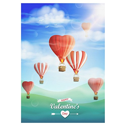 Cheap InterestPrint Hot Air Balloons Polyester Garden Flag Outdoor Banner 28 x 40 inch, Valentine's Heart Decorative Large House Flags for Wedding Party Yard Home Decor