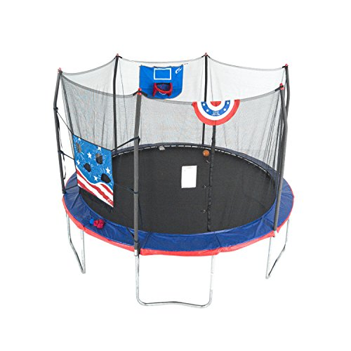 Skywalker Trampolines 12-Foot Jump N' Dunk Trampoline with Enclosure Net - Basketball Trampoline (Best Dunks On A Trampoline)