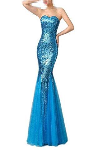 Pailletten himmelblau Meerjungfrau Abendkleid blau Sweetheart emmani Damen qESPwa0