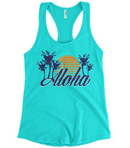 Cybertela Women's Aloha Hawaiian Hi Sunset Palm Tree Racerback Tank Top (Light Blue, Large) (Kamehameha Aloha Shirts)