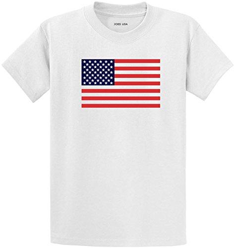 Joe's USA American Flag Logo Heavyweight Cotton T-Shirt-white/c-2XL