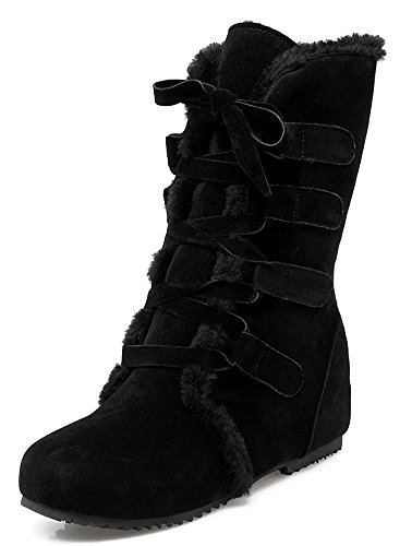 Women's Warm Faux Fur Lined Heighten Heels Lace Up Boots Ankle Snow Booties