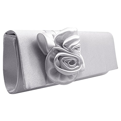 Floral Premium Wiwsi Bag Pleated Color Different Rose Flap Satin Clutch Evening pEwwTdqnr