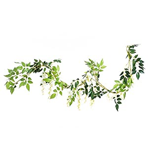 Greentime 4Pcs Artificial Flowers 6.6ft/Piece Silk Wisteria Ivy Vine Green Leaf Hanging Vine Garland for Wedding Party Home Garden Wall Decoration 3