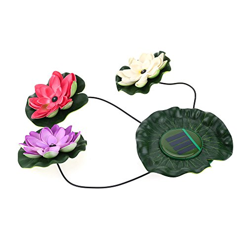 Corner Biz Aquarium - Practical Garden Pool Floating Lotus Solar Light Night Flower Lamp for Pond Fountain Decoration Solar Lamps