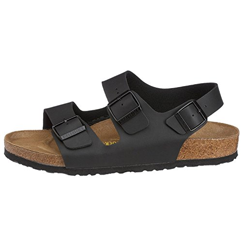 - Birkenstock Womens Milano Birko-Flor Strappy Beach Summer Holiday Sandal - Black - 6