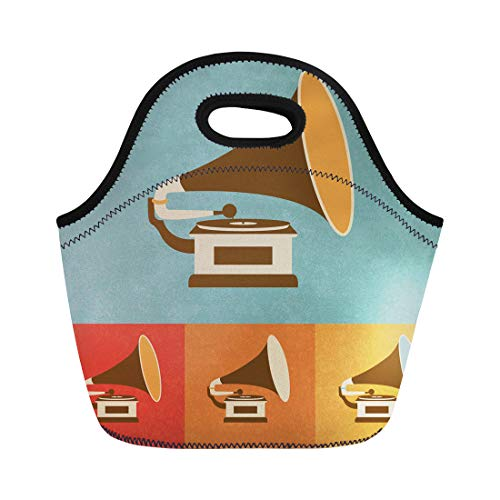 (Semtomn Lunch Bags Vintage Phonograph Retro Old Record Player Music Vinyl Turntable Neoprene Lunch Bag Lunchbox Tote Bag Portable Picnic Bag Cooler Bag)