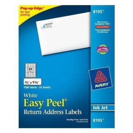 Avery 8195 Easy Peel Return Address Labels, Inkjet, 2/3 x 1 3/4, White, 1500/Pack