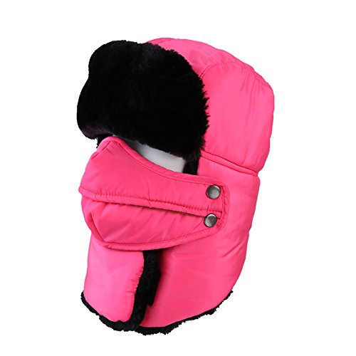 Leories Winter Trapper Trooper Hat Windproof Warm Camouflage Mask Ear Flaps Outdoor Sports Walking Skiing Hunting Hat Pink