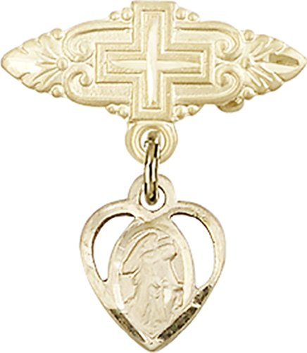 Pin 0.625 Baby (Gold Filled Baby Badge with Guardian Angel Charm and Badge Pin with Cross. Gift Boxed)