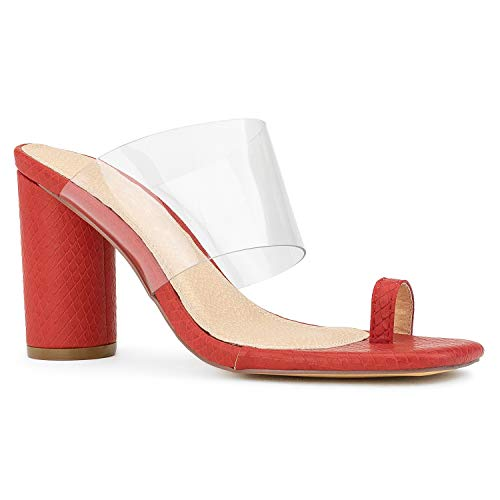 RF ROOM OF FASHION Clear Band Toe Ring Chunky Heel Slide On Mule Dress Sandals RED Size.6 -