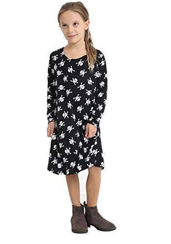 MA ONLINE Girls Dress Party Wear Skull and Spider Printed Black Swing Dress Costume Outfit 7-8 Years