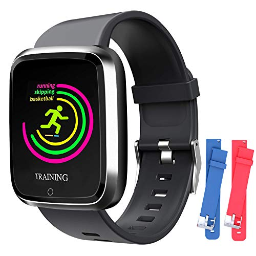 Smart Watch, Smartwatch with SMS/Caller ID, IP67 Waterproof Smart Watch for Men/Women/Kids, Fitness Tracker Step/Calorie Counter, Heart Rate/BP/Blood Oxygen/Sleep Monitor, Compatible with iOS/Android